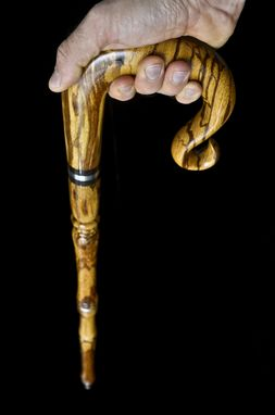 Custom Made Travel Walking Cane In Marble Wood And Walnut, Exhibition Quality