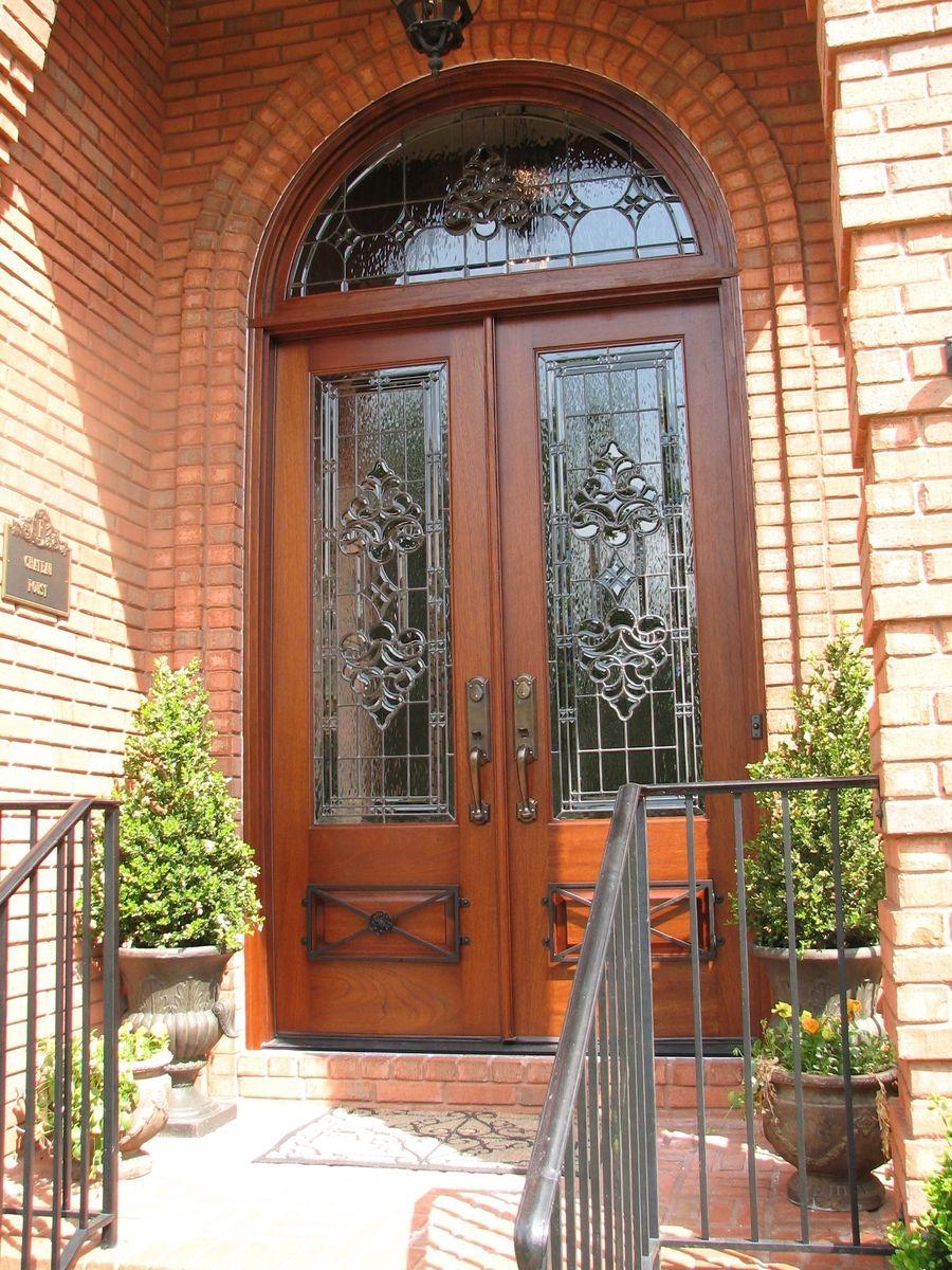 Custom Made Doors : Handmade mahogany door with custom leaded glass wrought