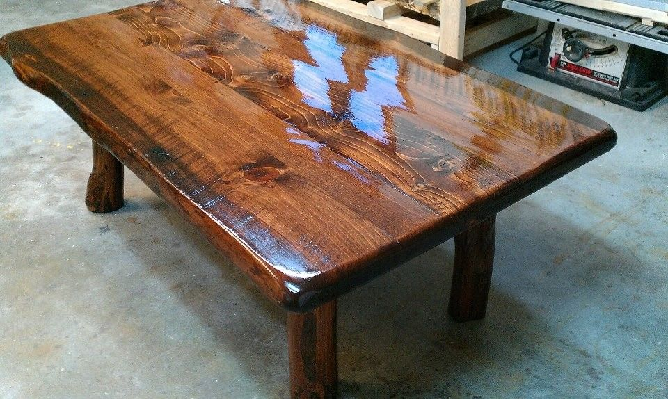 Hand Made Live Edge Coffee Table On Small Log Legs By