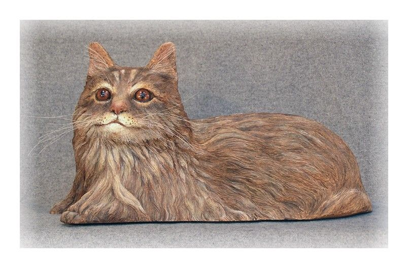 Hand made maine coon cat wood carving by whittlins n