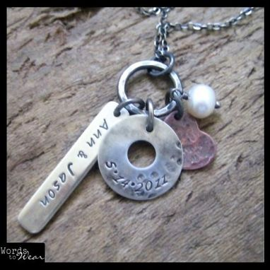 Custom Made Custom Hand Stamped Rustic Sterling & Copper Celebration Necklace