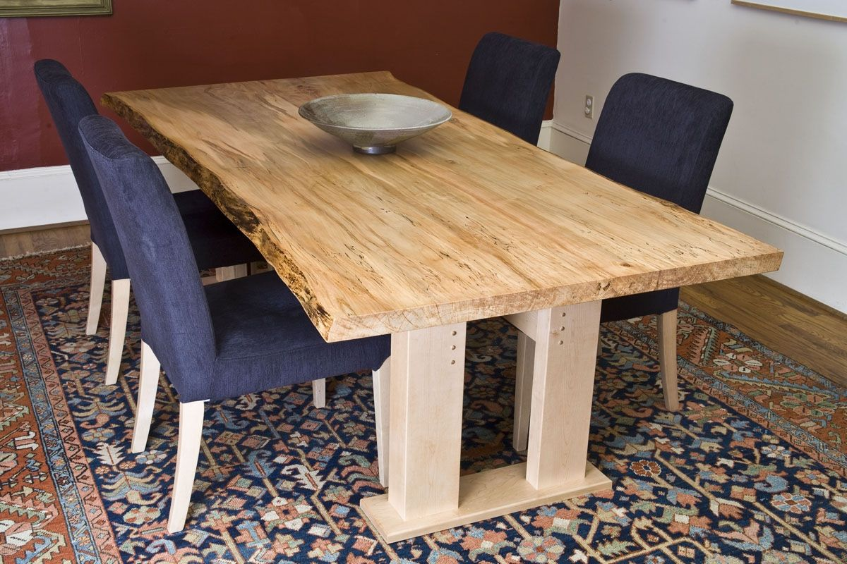 custom made ambrosia maple dining table live edge - Maple Kitchen Table