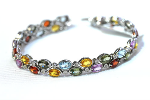 Custom Made 14k White Gold Multicolored Genuine Gemstone & Diamond Bracelet