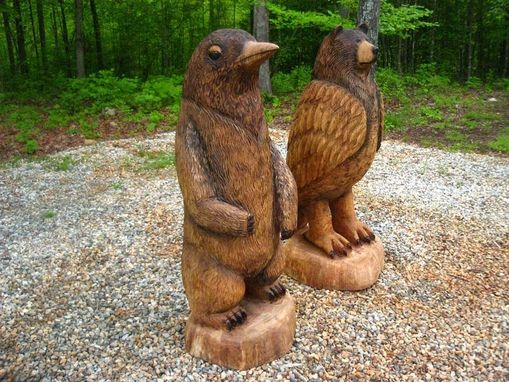 Custom Made Bird-Bear Wood Sculptures