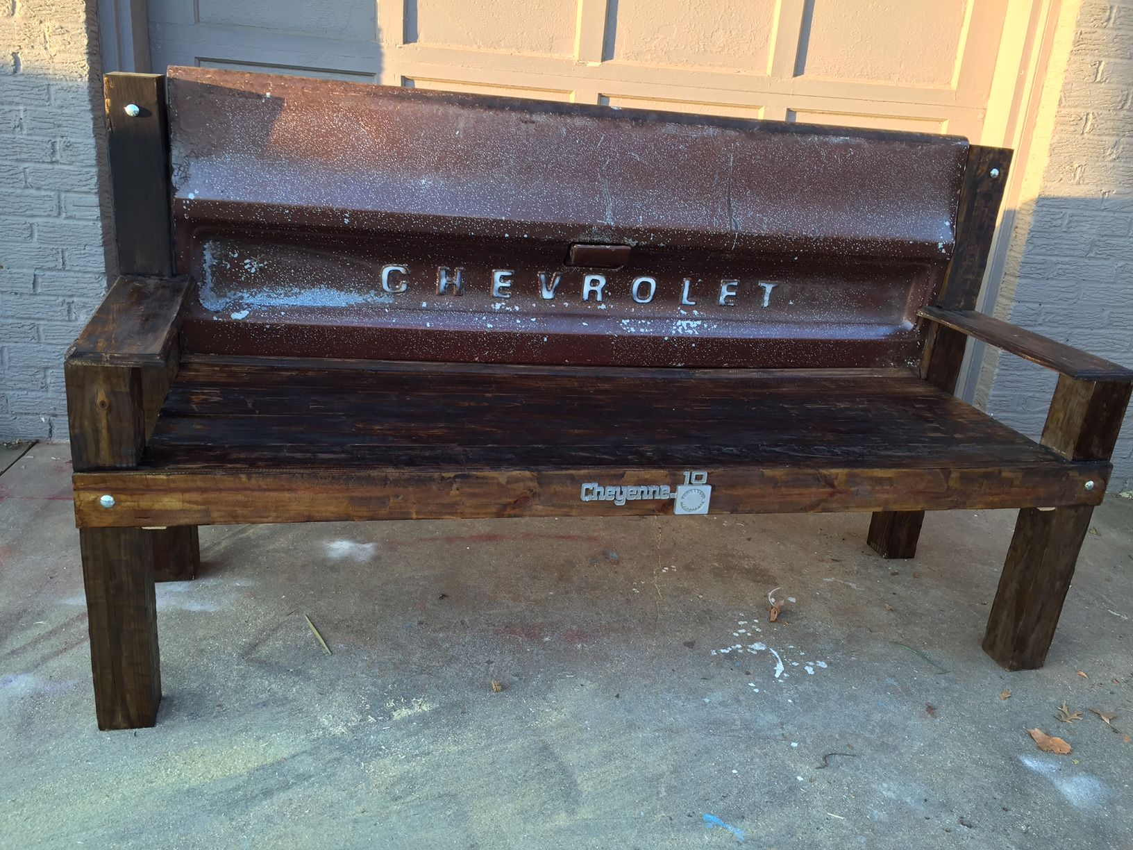 Buy a handmade chevy tailgate bench made to order from grit custom made chevy tailgate bench geotapseo Images