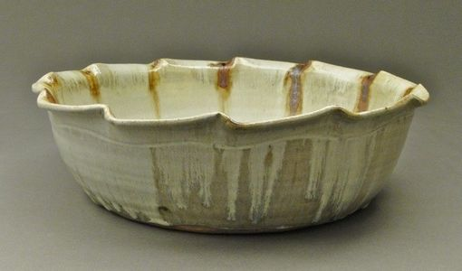 Custom Made Nuka Glazed Stoneware Bowl, Handmade Ceramic Pottery With Iron Stain, (Sku 115)