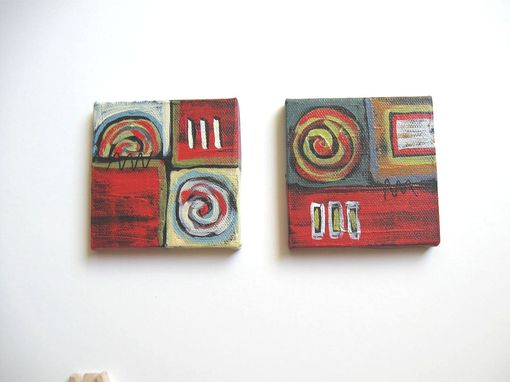 Custom Made Minature Acrylic Abstract Painting On Canvas Red Background