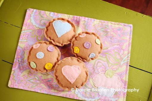 Custom Made Felt Cookies With Hearts And M&M'S