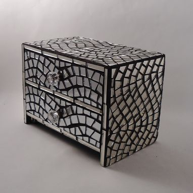 Custom Made Mirror Mosaic Jewelry Box Wave Pattern