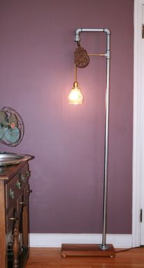 Custom Made Floor Lamp With Vintage Pulley