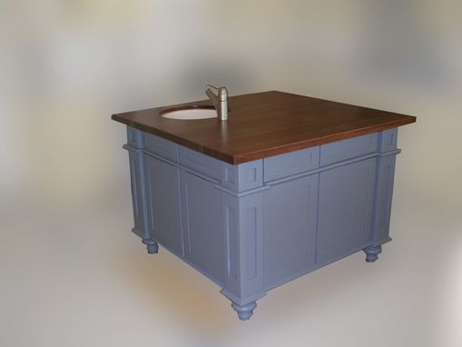 Custom Made Kitchen Island With Thick Cherry Top