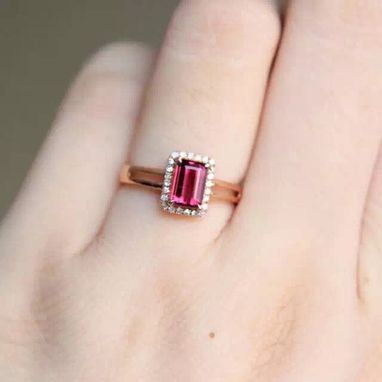 Custom Made 1.05 Carat Rhodolite Garnet Ring 14k Rose Gold