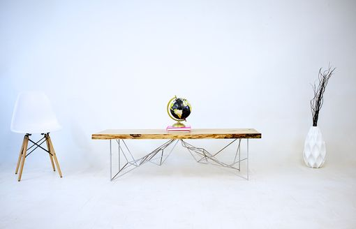 Custom Made The Yoshi: Live Edge Elm Slab With Chrome Geometric Base.