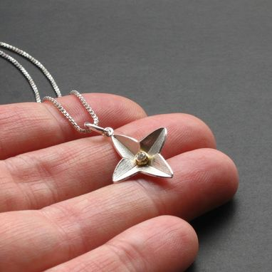 Custom Made Chj Sterling With Diamond In Gold Granule North Star Pendant By Cristina Hurley