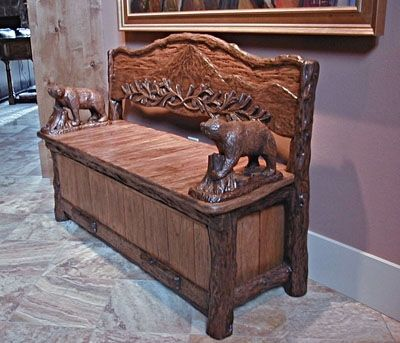 Hand Crafted Timberline Rustic Storage Bench By Piece Of The Wind