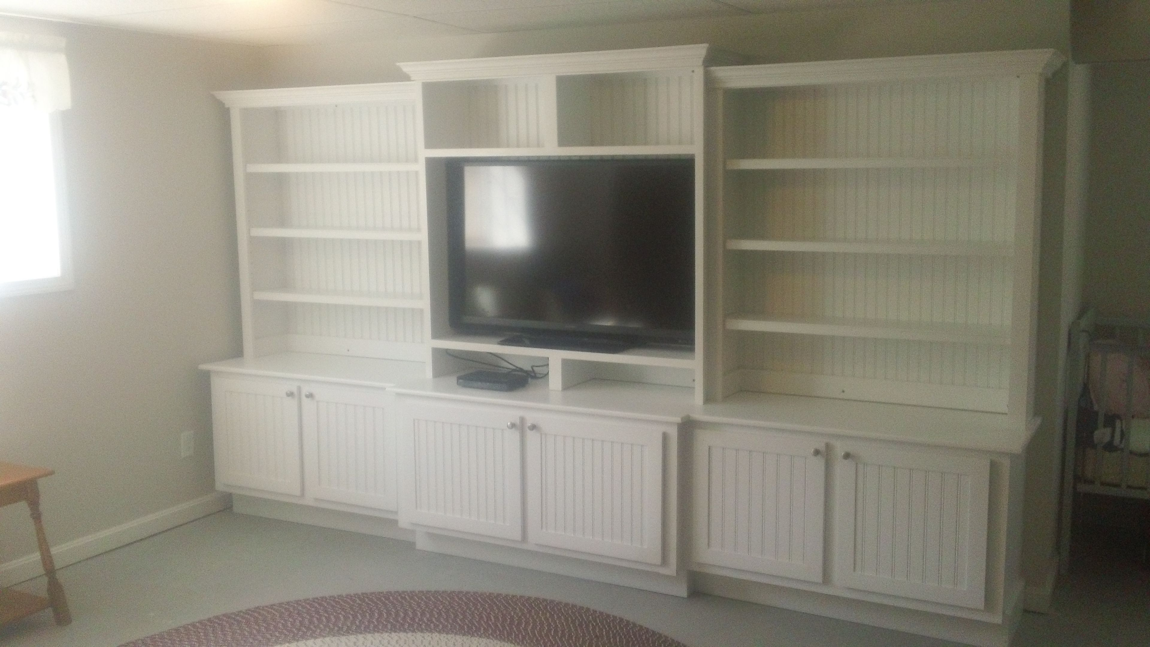 Buy a Custom Large White Entertainment Center, made to ...