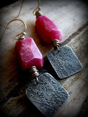 Custom Made Ruby Agate Gemstone With Etched Metal Dangling Earrings
