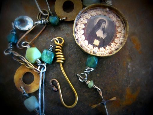 Custom Made St. Margaret Mary Pendant With Green Fluorite And Vintage Pieces Necklace