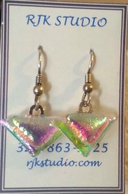 Custom Made Dichroic Glass Triangle Earrings