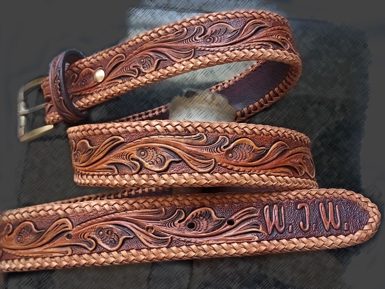Buy a hand crafted tooled gun belt straight type