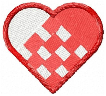 Custom Made Woven Heart Embroidery Design