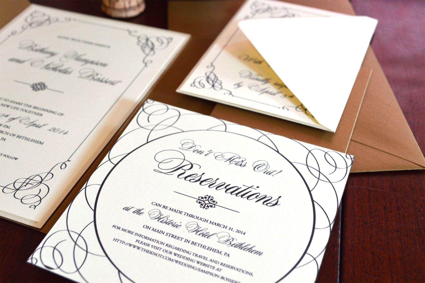 Hand Made Scripty Elegant Wedding Invitation Suite by Bella Blu ...