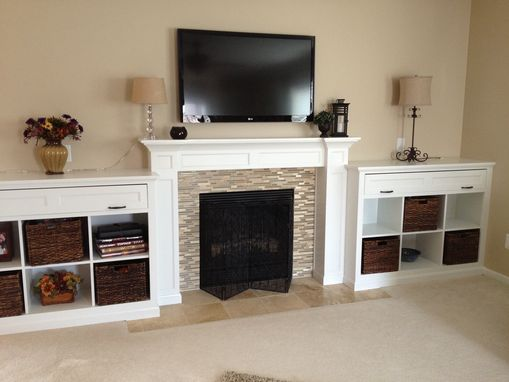 Custom Made Mantel And Built-In Bookcases