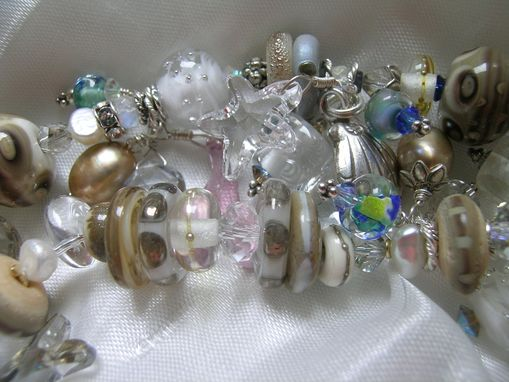 Custom Made 'The Dunes' - 2-Strand Lampwork & Gemstone Ss Bracelet