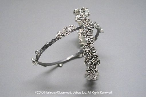 Custom Made Rose Stackable Bangle - Oxidized Sterling Silver