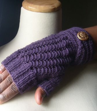 Custom Made Contempo Elegant Lace Knit Fingerless Gloves/Mitts - In Deep Eggplant