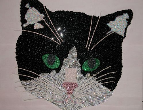 Custom Made Swarovski Crystal Tuxedo Cat