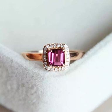 Custom Made 0.79 Carat Rhodolite Garnet Ring In 14k Rose Gold