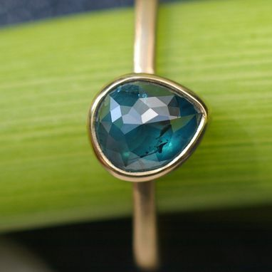 Custom Made Rose Cut Blue Pear Diamond Bloom