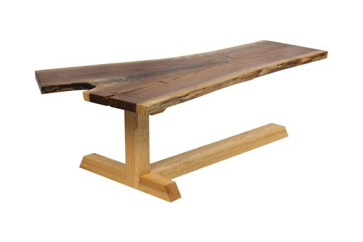 Custom Made Walnut And Red Oak Cantilevered Coffee Table