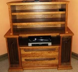 Custom Made Cherry Tv Stand With Walnut Accents.