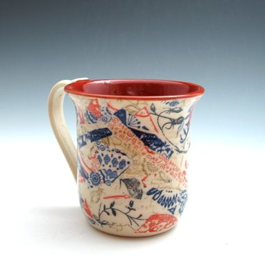 Custom Made Pair Of Coffee Mugs With Multi-Colored Patterns