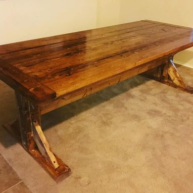Custom Made Rustic Trestle Table With Expansion Leaves