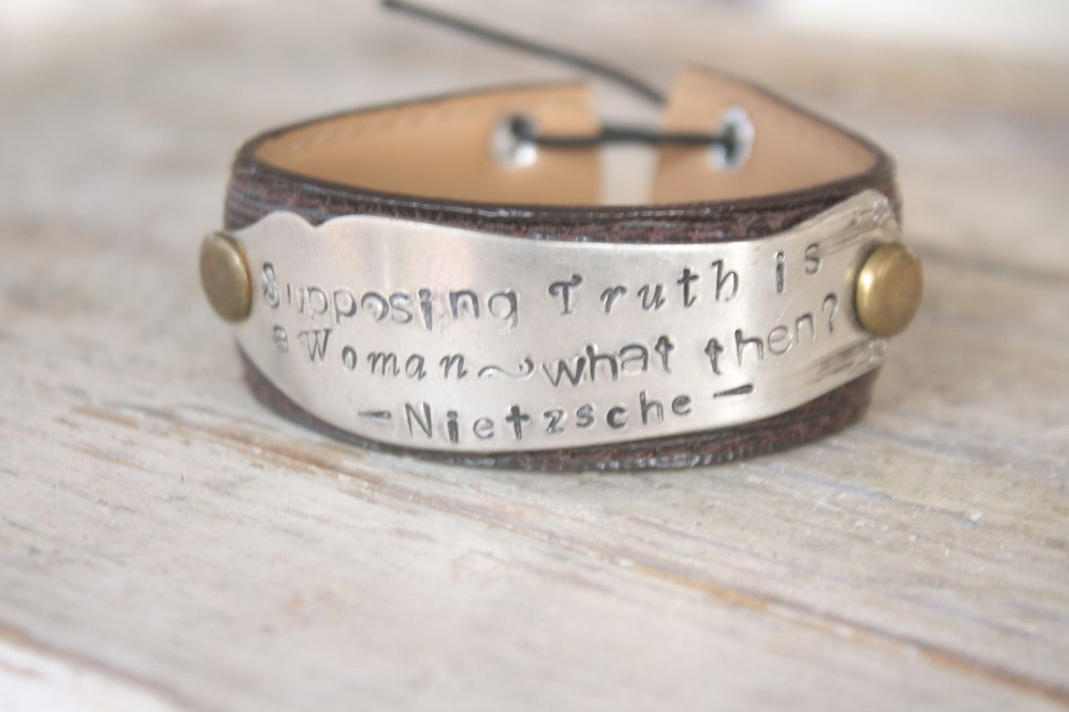 Handmade Nietzsche S Truth Upcycled Belt Leather Cuff