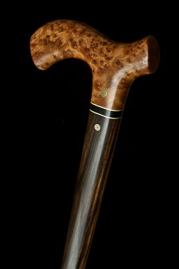 Custom Made Handmade Walking Cane In Thuya Burl And Ebony Wood - Walking Stick, Gift Idea, Wood Art