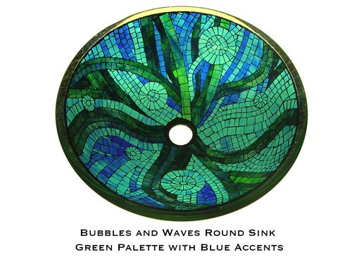 Custom Made Bubbles And Waves Glass Mosaic Bathroom Sink - Round