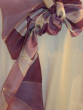 Custom Made Geometric Collection - Hand Dyed Silk Scarves. Purple