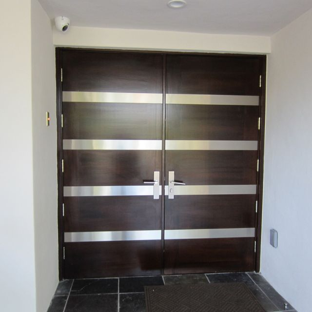 Hand Crafted Contemporary Entry Doors With Stainless Steel By Deco