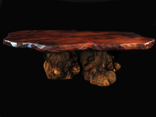 Custom Made Live Edge Burled Redwood & Burl Pine Coffee Table With Turquoise Inlay