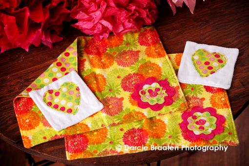 "Custom Made Soft Flannel Placemats And Table Napkins ""Raspberry Truffle''"
