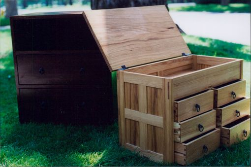 Custom Made Tansu Style Walnut End Tables And Hickory Tool Chest