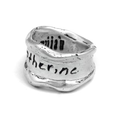Custom Made Sterling Silver Wavy Signature Ring. One Of A Kind