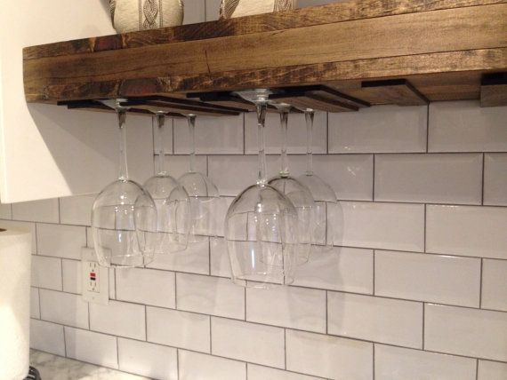 A Hand Made Floating Shelf With Wine Gl Rack Farmhouse Rustic Shelves Reclaimed Wood To Order From The Urban Co