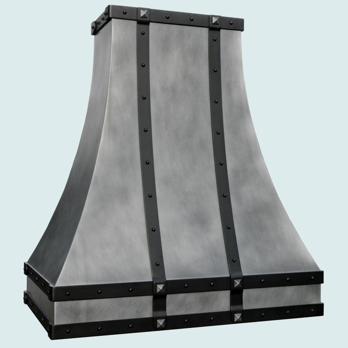 Black Chimney Style Range Hoods ~ Hand crafted zinc range hood with black steel straps by