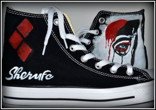 Custom Made Harley Quinn Converse, Custom Converse, Painted Conver, Harley Quinn