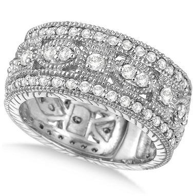 Custom Made Vintage Style Byzantine Wide Band Diamond Ring